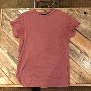 G Star Raw red faded curve hem short sleeve tshirt